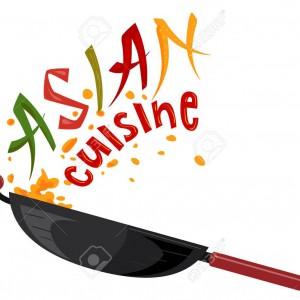 Asian Cuisine Lettering Illustration